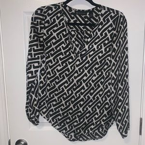 INC black and white design blouse